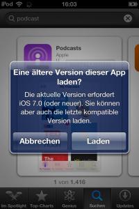 Screenshot mit Hinweis ältere unterstützte Version zu laden